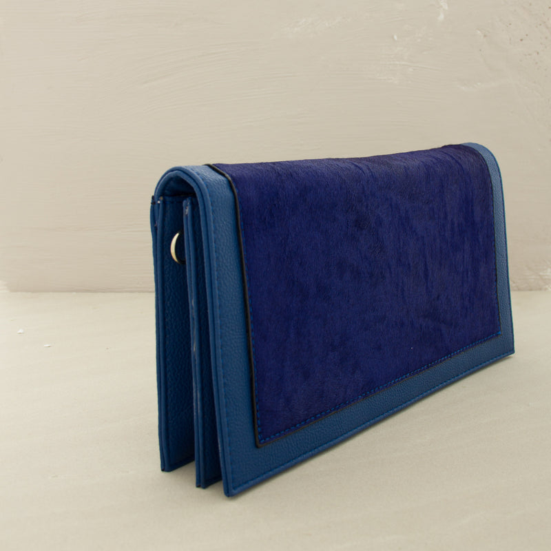 Hide PU Edge Flapover Rectangle Clutch