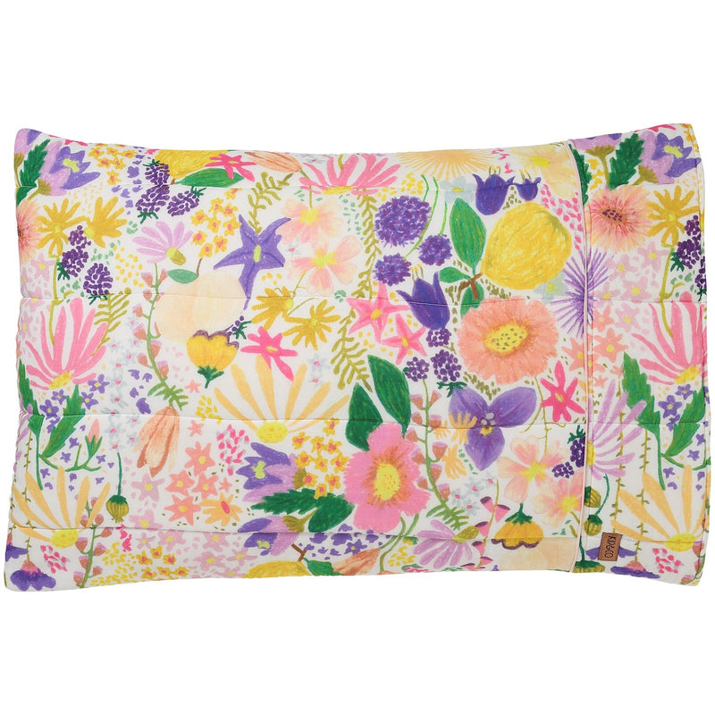 Meadow White Cotton Quilted Pillowcases - 2P Standard Set