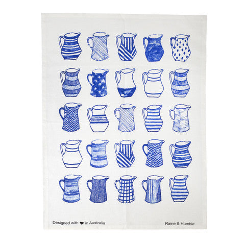Blue Jugs tea Towel
