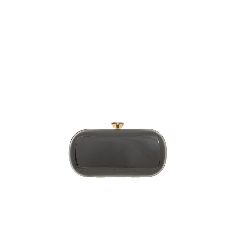 Resin Diamond Top Gloss Curved Structured Clutch