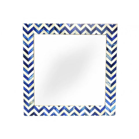 Blue Chevron Bone Mirror