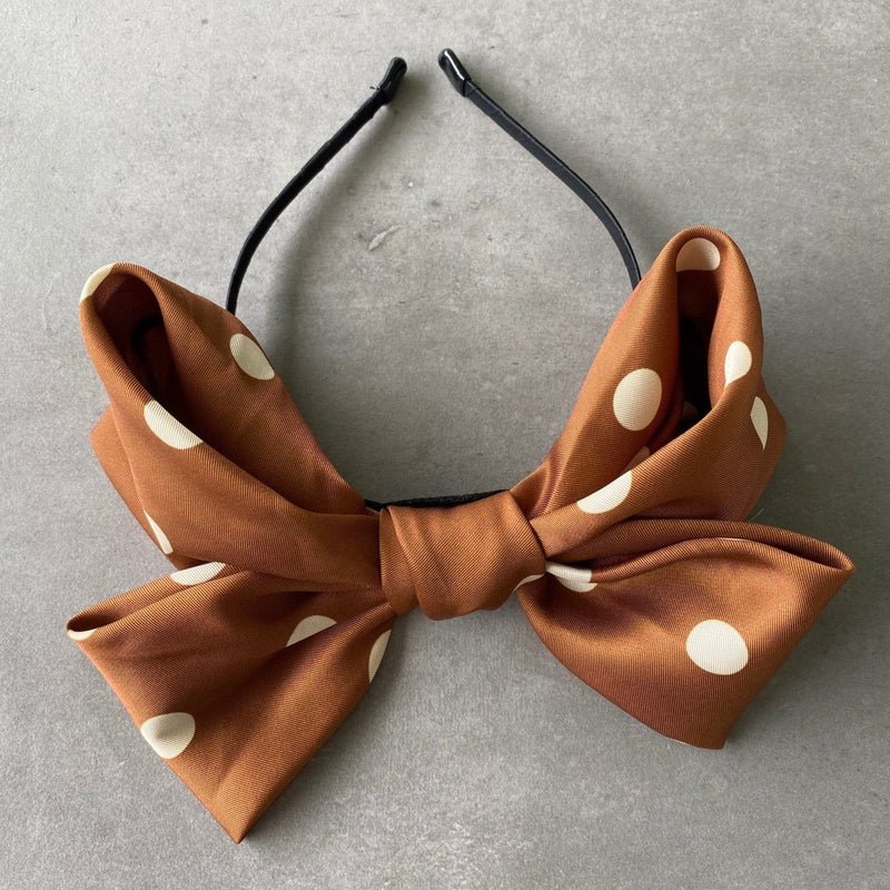Anna, Satin Oversized Polka Dot Bow Headband