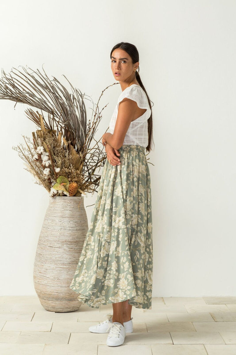 Alela Skirt Blossoms-sage