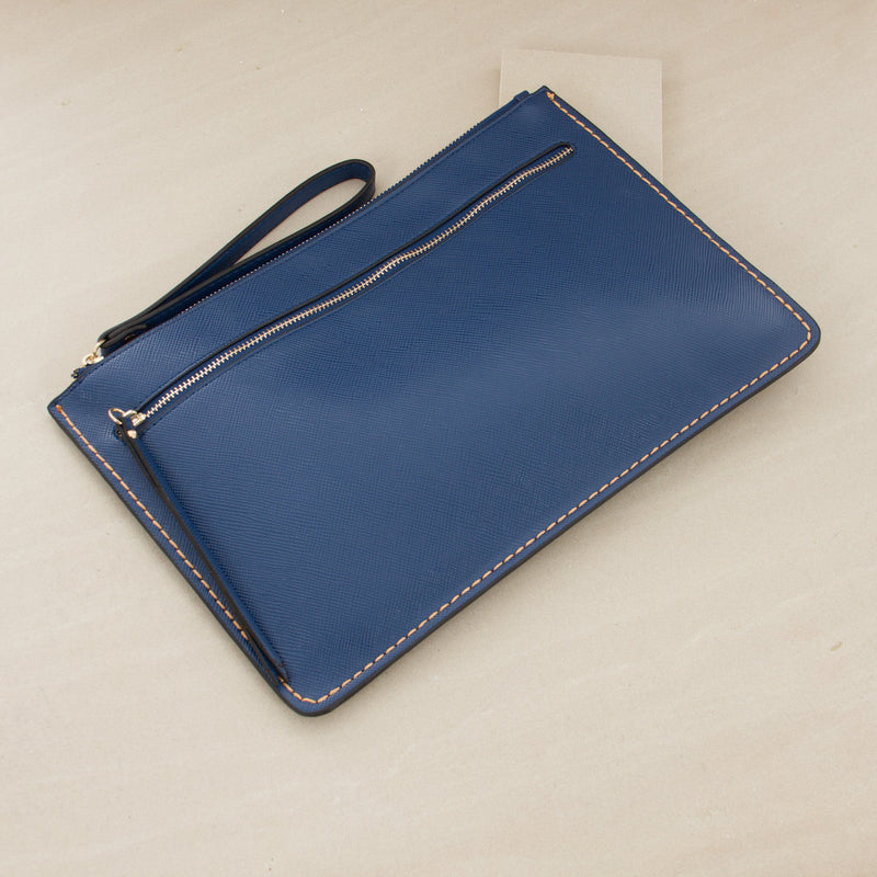 Stitch Edge Zip Front Rectangle Clutch