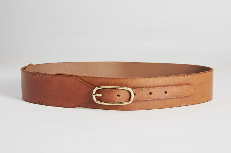 Tan Wide Leather Belt (Gold Buckle)