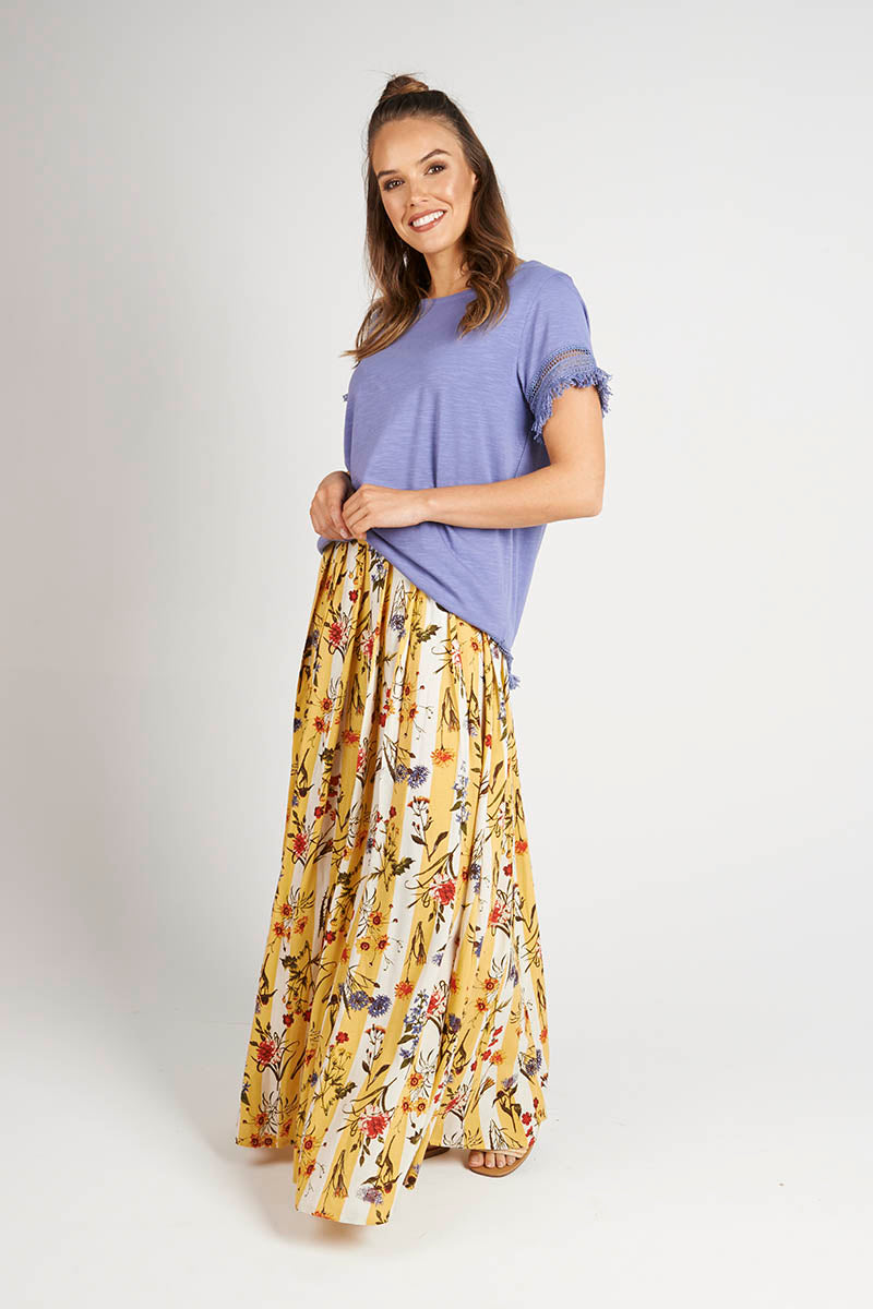 Floral Stripe Maxi Skirt
