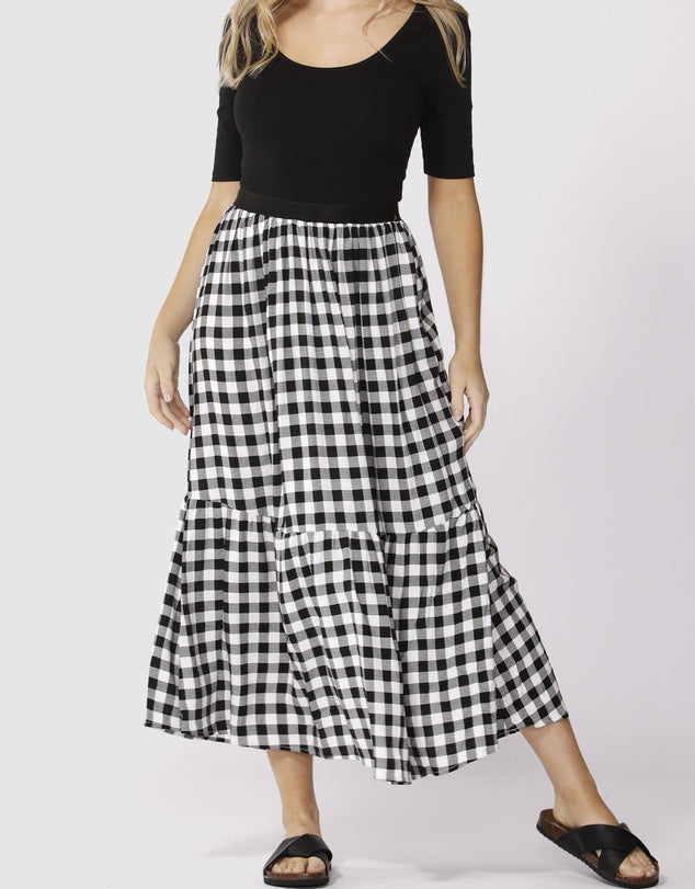 Gingham Maxi Skirt-Black and White