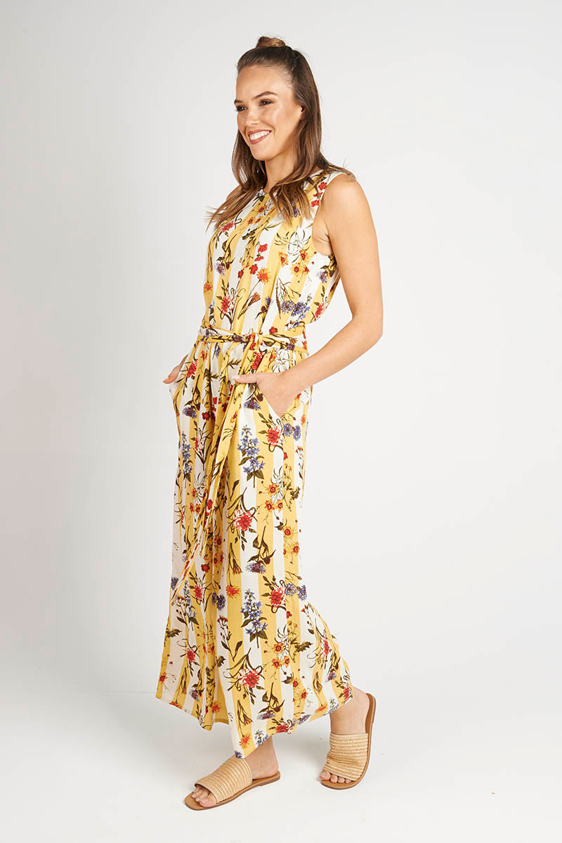 Yellow Floral Stripe Jumpsuit