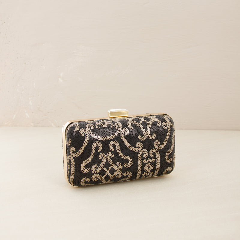 Sequined Opulence Print Structured Clutch