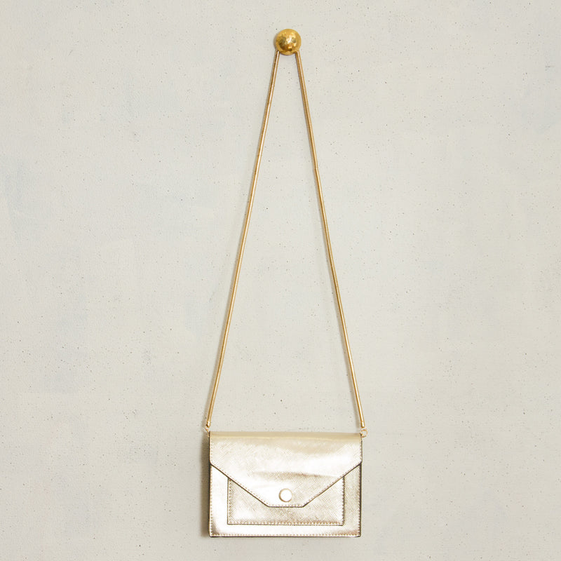 Textured Metallic Rectangle Clutch