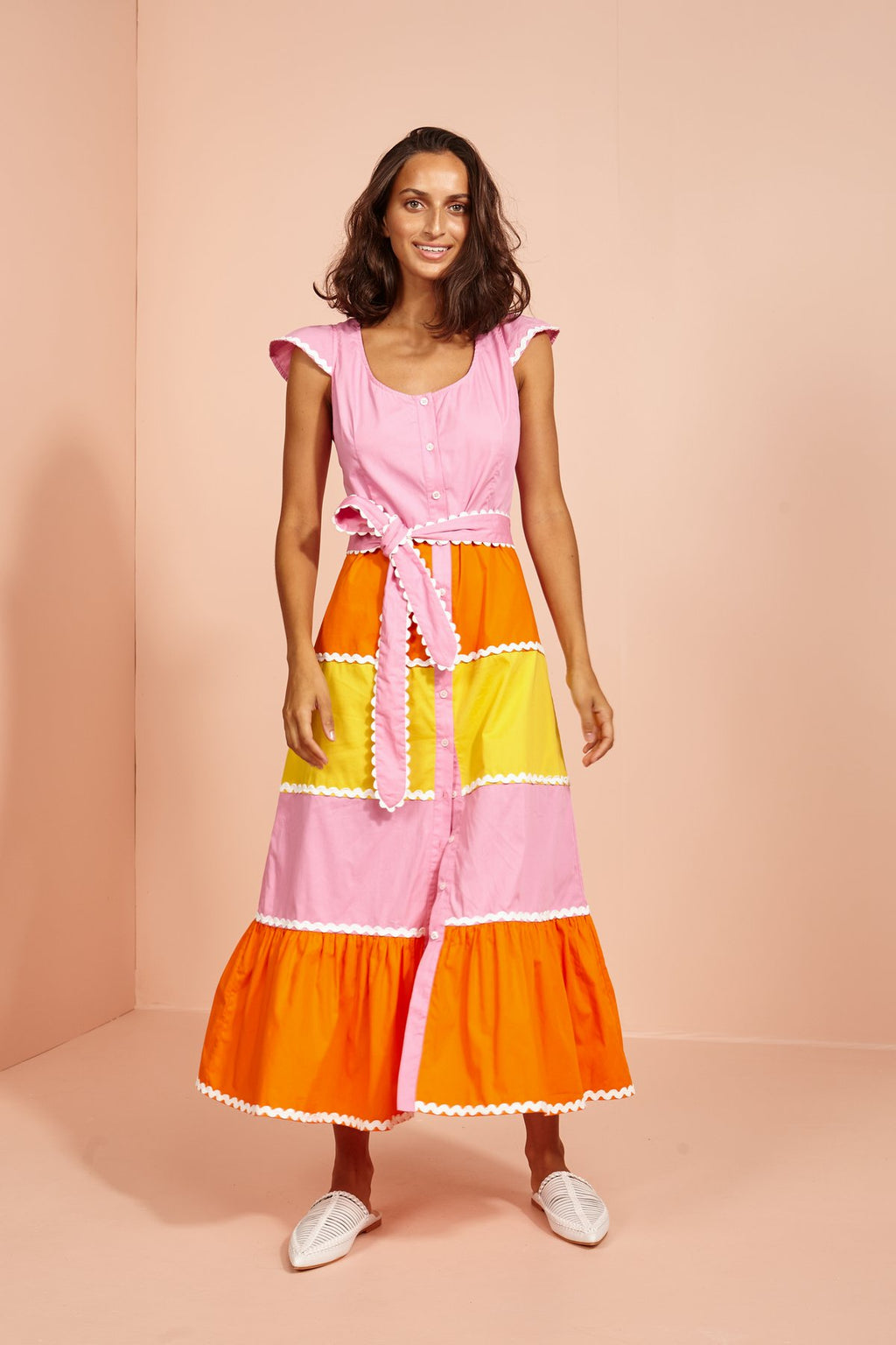 Mango Lassi Tiered Cap Sleeve Dress