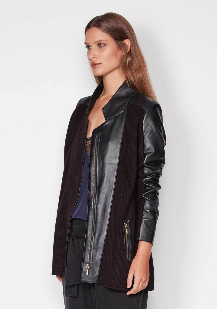 CAPTURE LEATHER KNIT JACKET