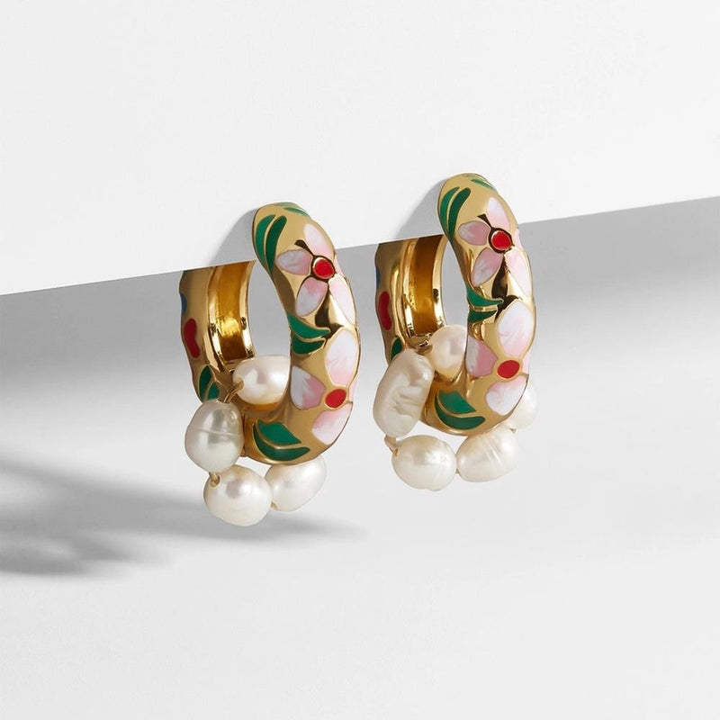 Mine - Enamel Flower & Pearl Earrings