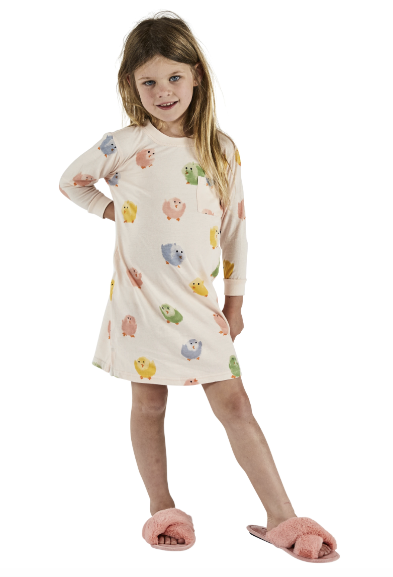 Chickadee Peach Long Sleeve Nightie