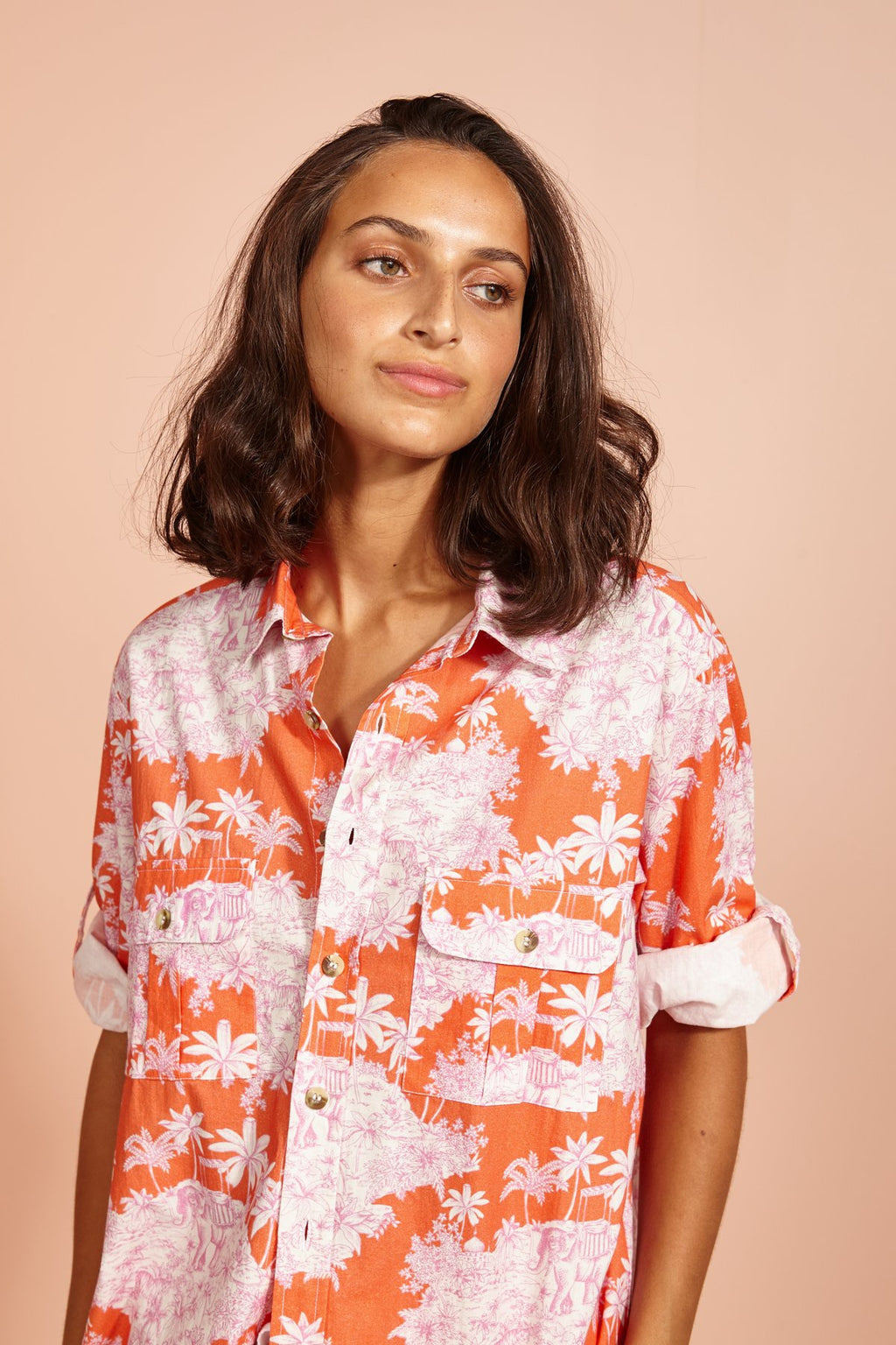 Let's Goa Shirt-Toile-orange/pink