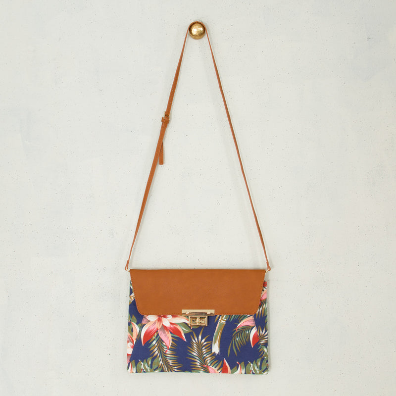 Canvas and PU Foldover Clip Clutch