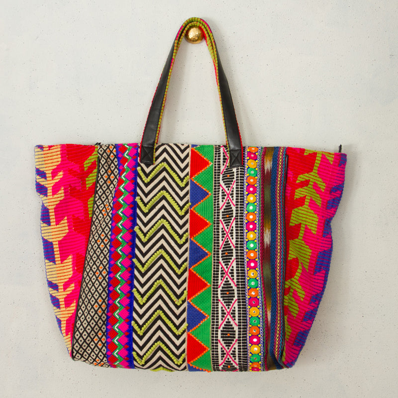 Wandering Traveller Stripe Mix Oversized Tote