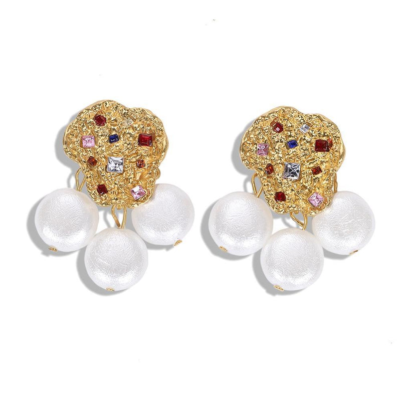 Turkish Delight - Multi Crystal & Pearl Earrings