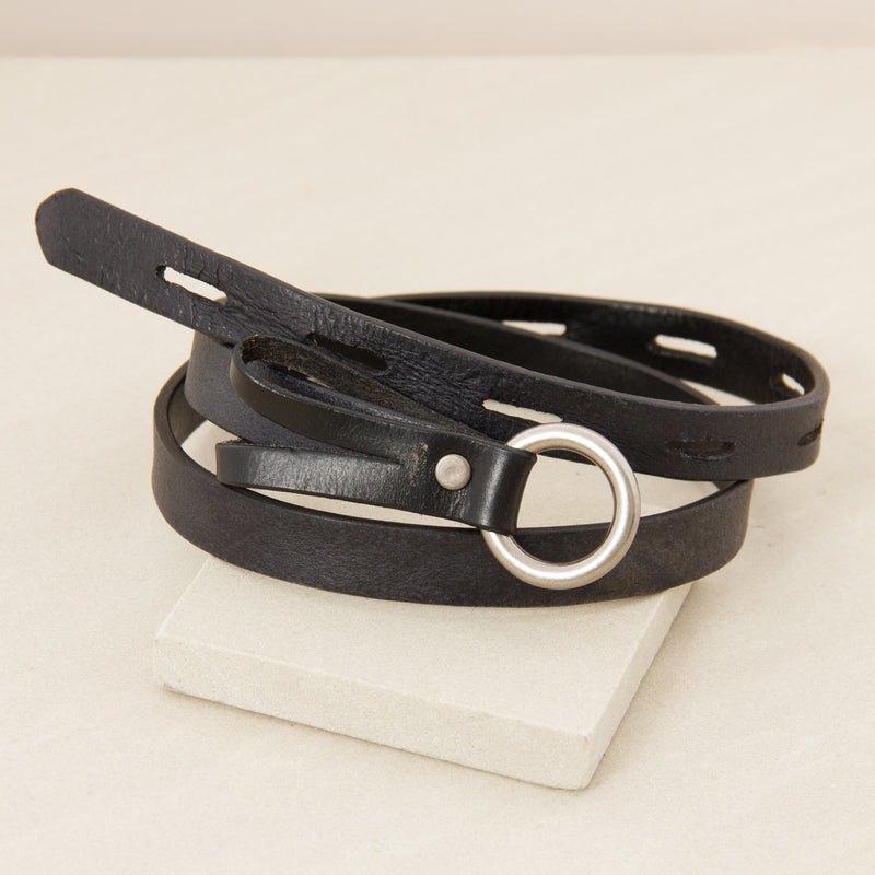 Cutout Loop Through Leather Belt