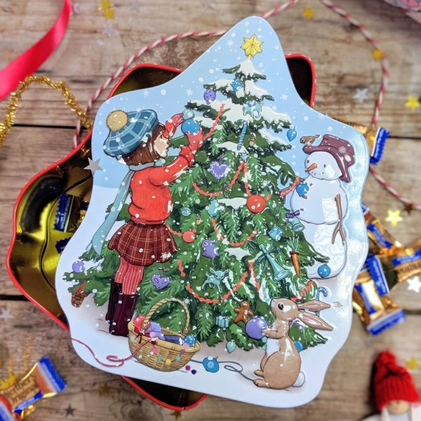 Belle & Boo Christmas tree tin