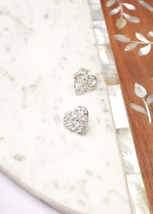 Semi Sweet Sparkling Silver Heart Earrings
