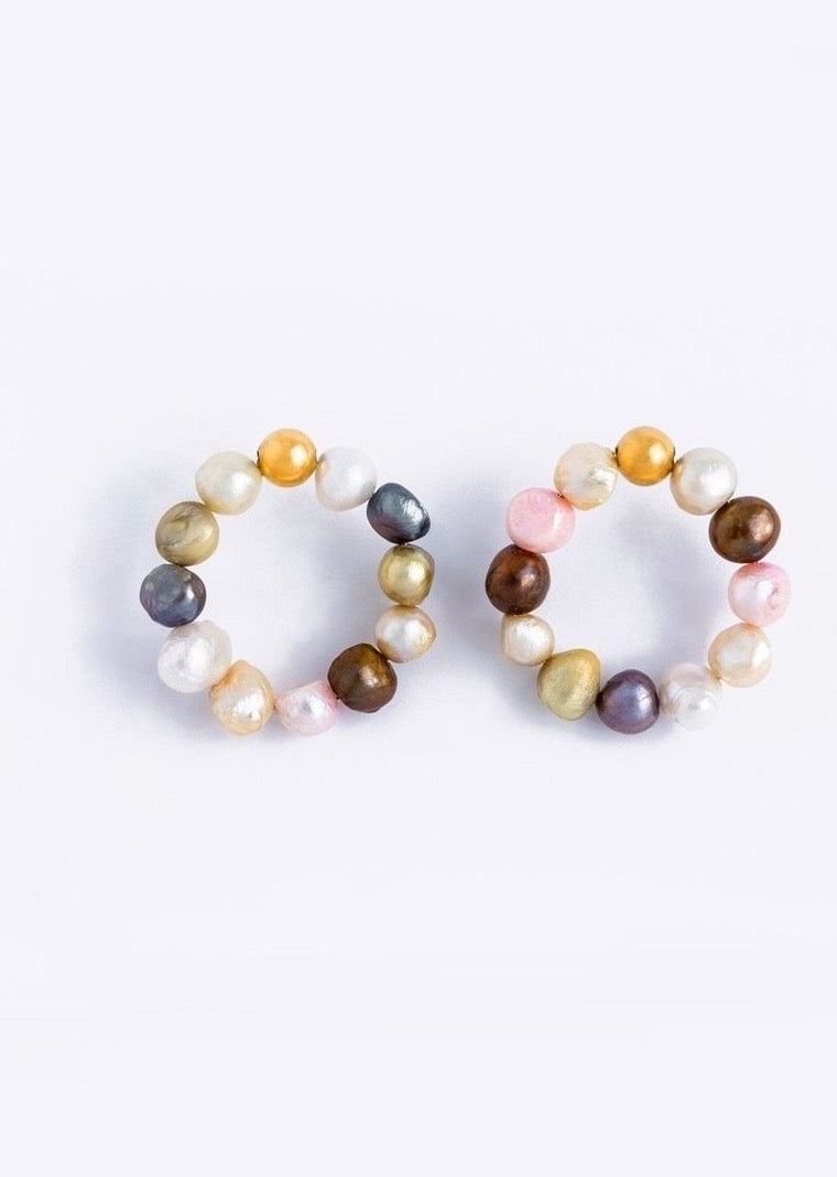 Agate Multi Coloured Natural Pearl Hoops