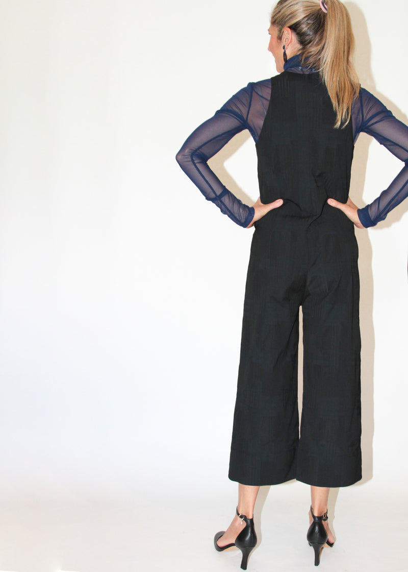 Zip Fronted Cropped Jumpsuit