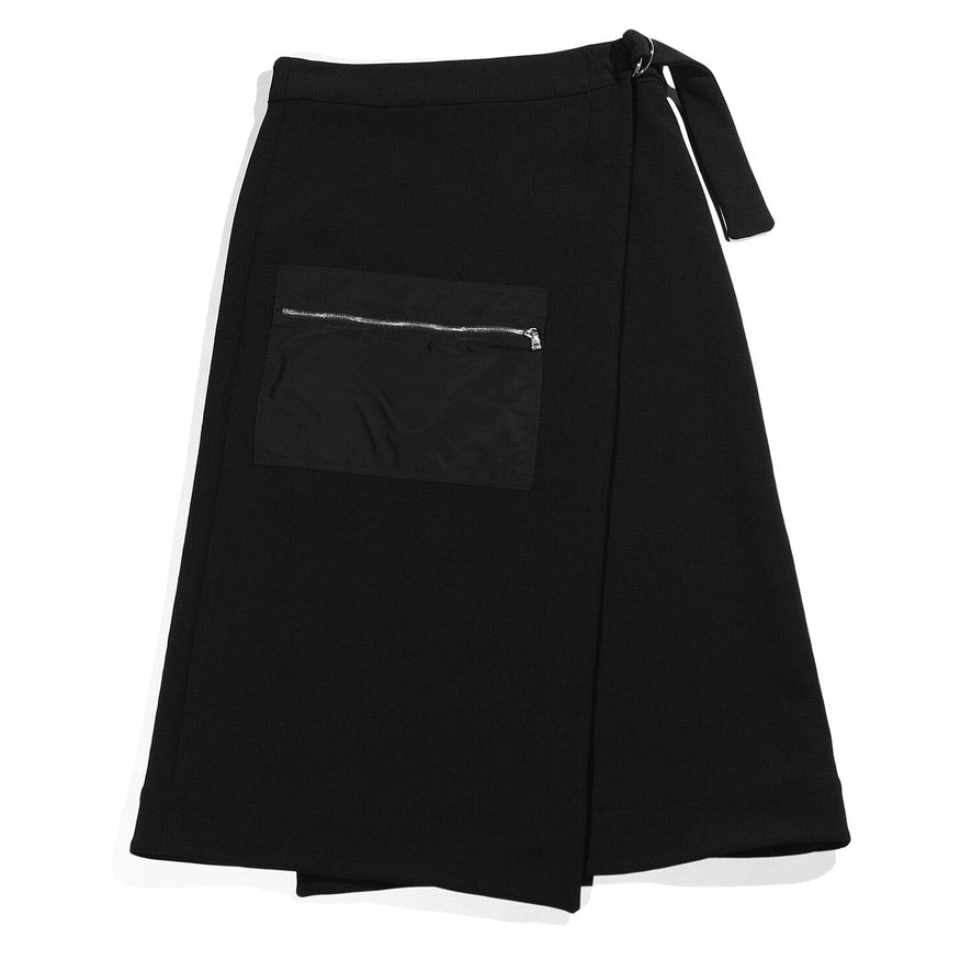 Zip Pocket Wrap Skirt