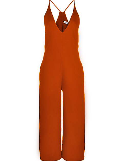 V- Neck Jumpsuit in Poppy