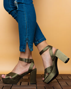 Pimkie cross strap heeled sandals Green