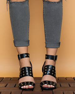 Pimkie platform black and gold  sandal