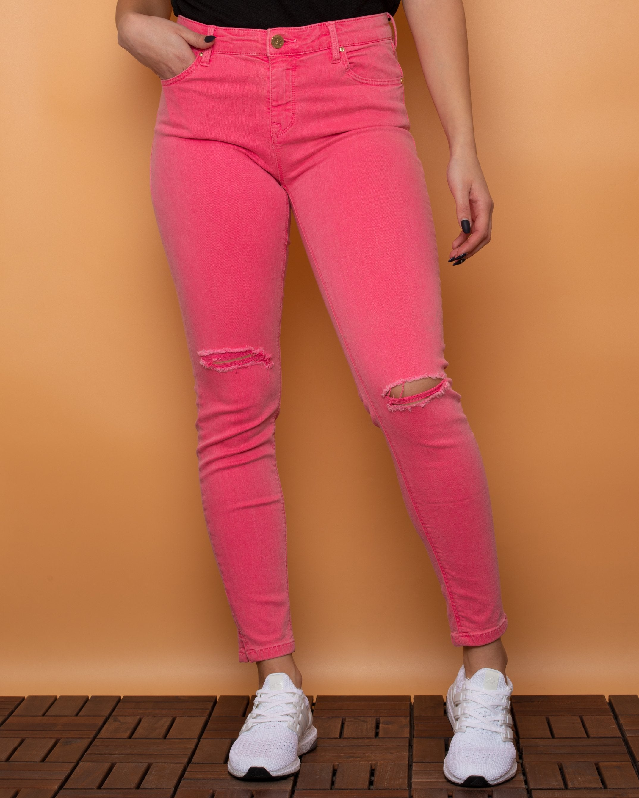 Stradivarius Jeans Cropped High Waist Pink