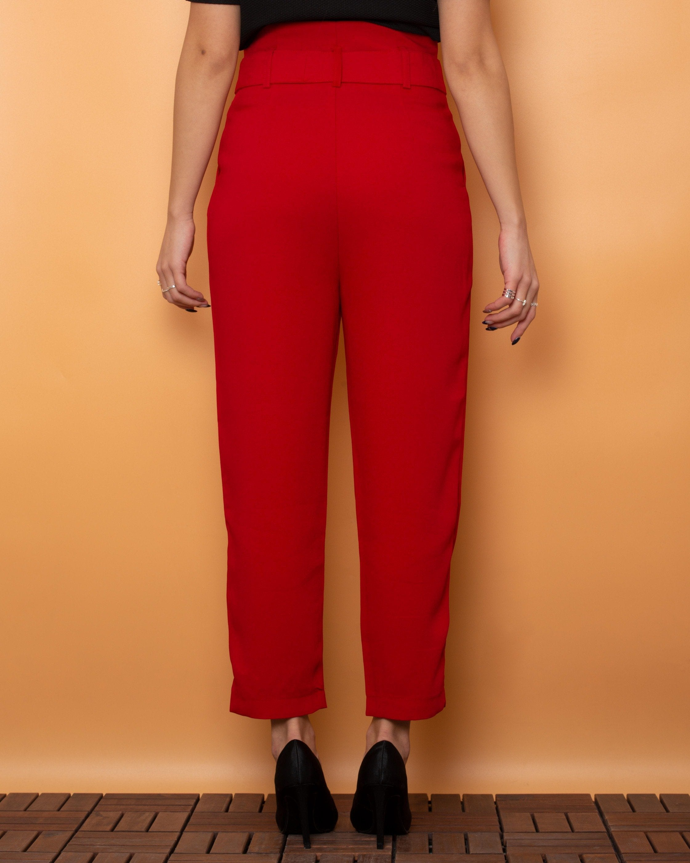 Stradivarius Fabric Pants High Waist Red