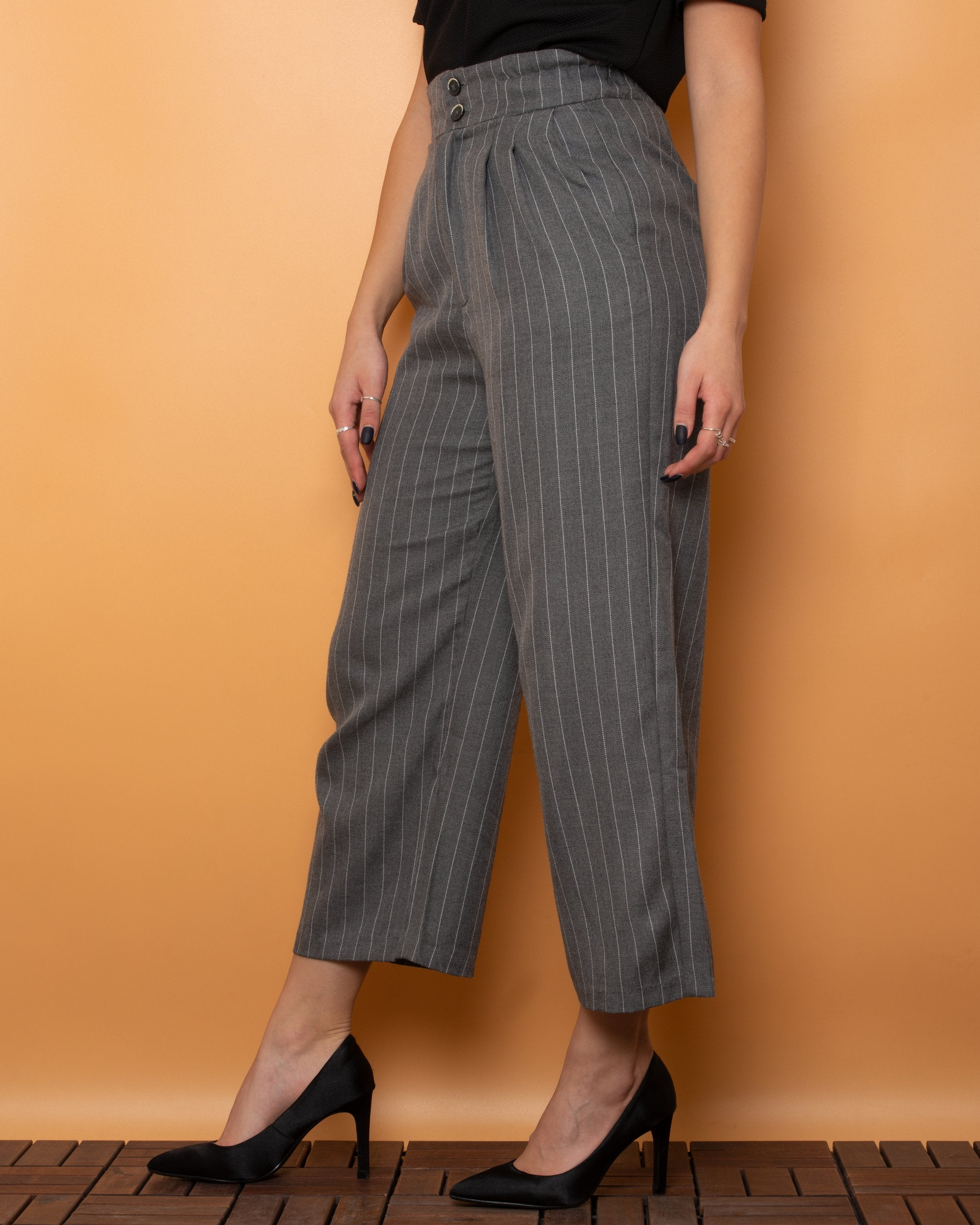 Stradivarius Fabric Pants High Waist Grey