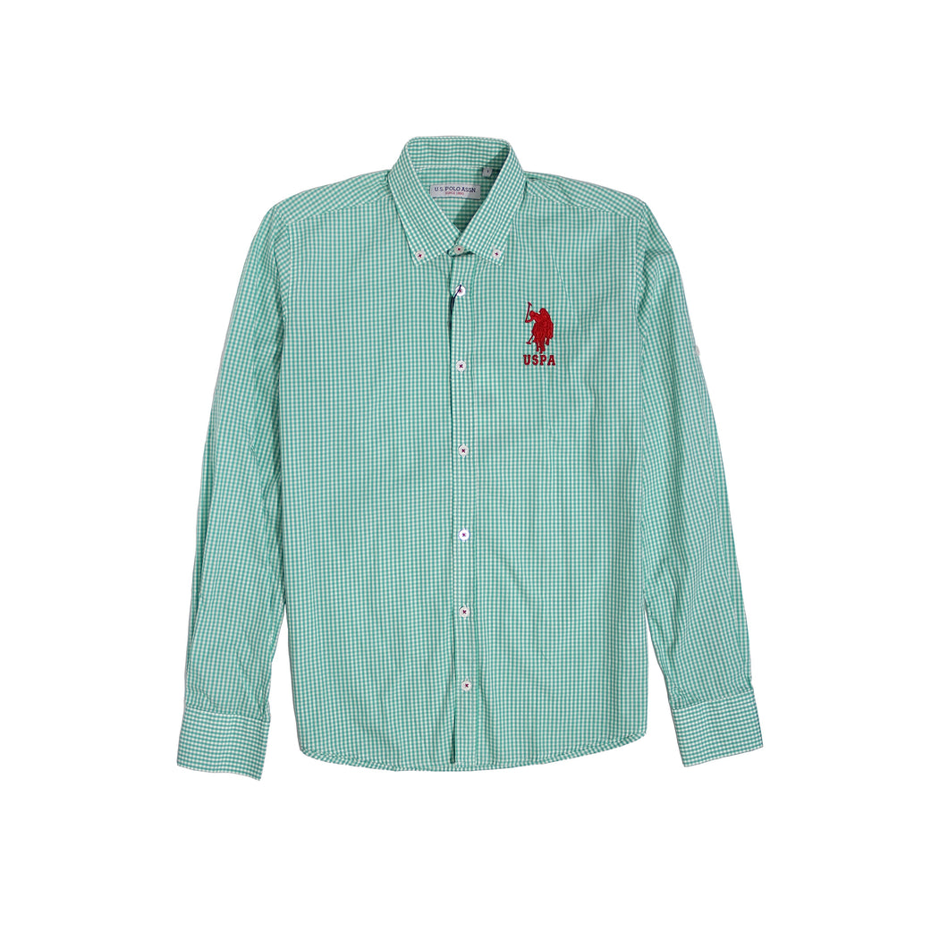 U.S. Polo Assn Men Long Sleeve Green White
