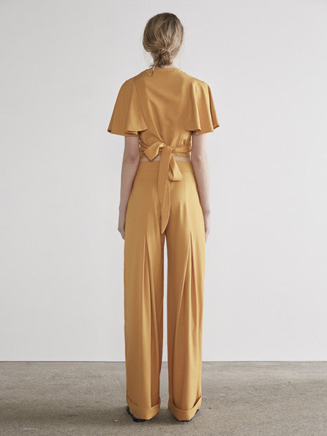 Wrap Flounce Crop in Mustard MADE-TO-ORDER