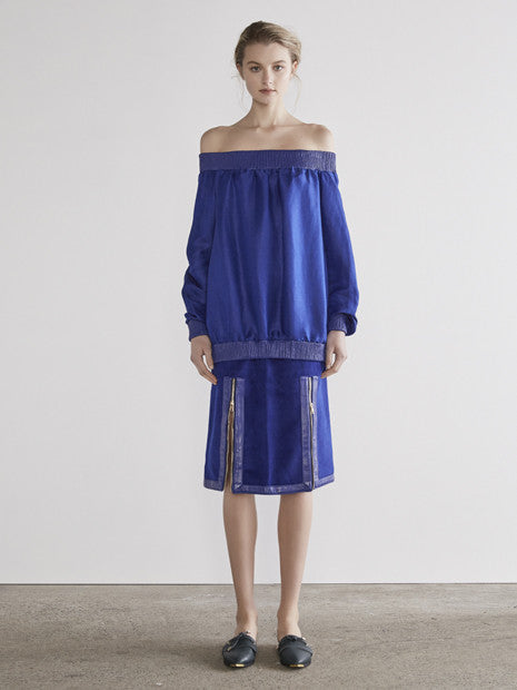 Luxe Off-The-Shoulder Jumper In Royal Electric Blue MADE-TO-ORDER