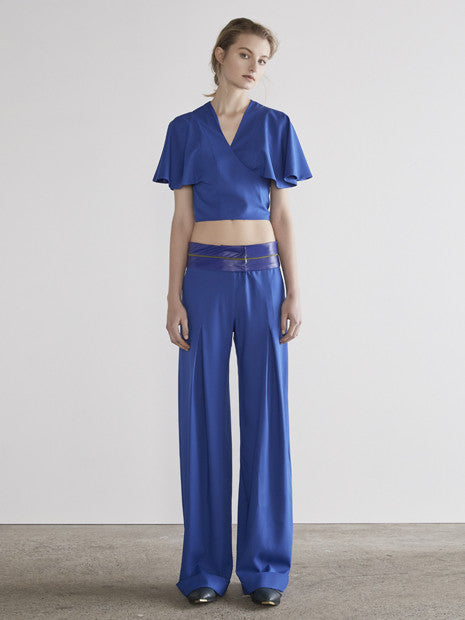Wrap Flounce Crop in Royal Electric Blue MADE-TO-ORDER