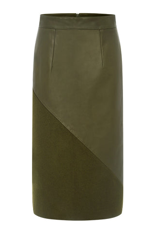 CORNER-TO-CORNER PENCIL SKIRT in OLIVE GREEN | MADE-TO-ORDER