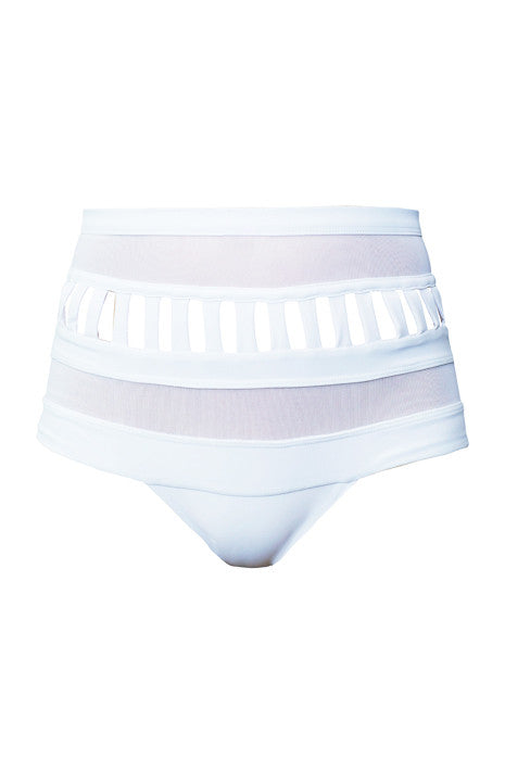 SWAG PANELED HIGH WAISTED BRIEF in WHITE