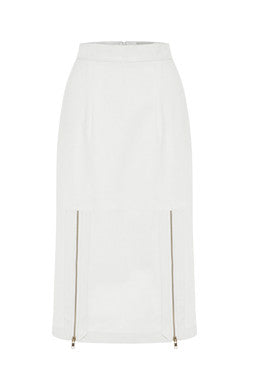 Exposed Pencil Skirt In White MADE-TO-ORDER