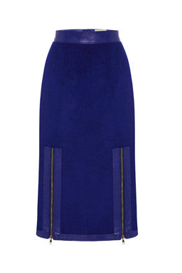 Exposed Pencil Skirt In Royal Blue MADE-TO-ORDER