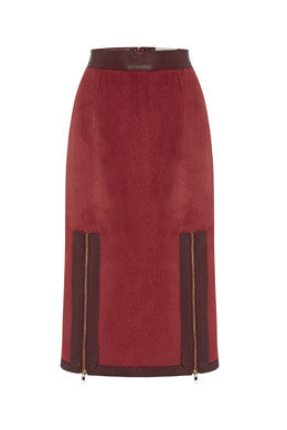 Exposed Pencil Skirt In Maroon MADE-TO-ORDER