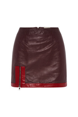 Exposed Mini Skirt In Maroon/Red MADE-TO-ORDER