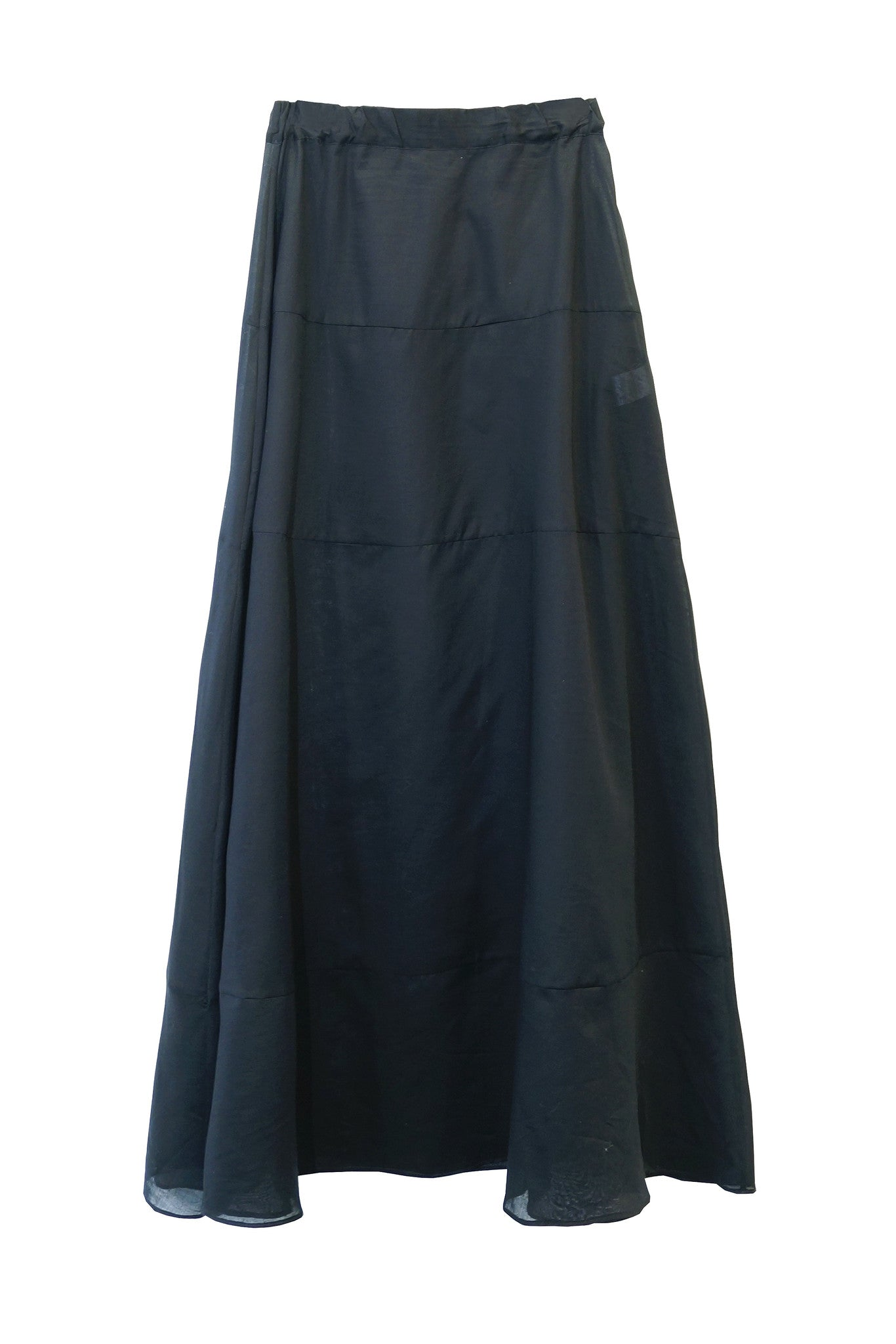 TRANSLUCENT COTTON VOILE MAXI SKIRT in BLACK