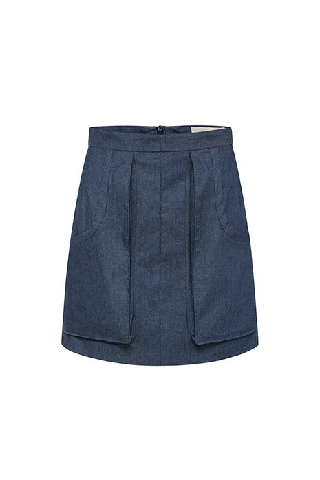 TETHERED PENCIL SKIRT in DARK DENIM