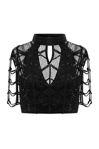 STEVIE KNICKS CROPPED-SLEEVE BEADED TOP