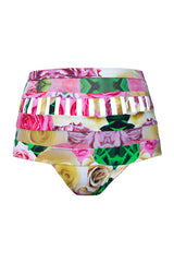 SWAG PANELED HIGH WAISTED BRIEF in WILD ROSES
