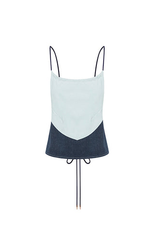 HOLLOW REVIVAL CROP TOP in DARK DENIM/LIGHT DENIM