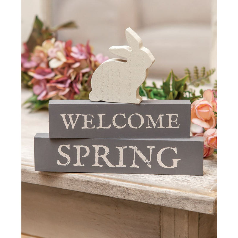 Welcome Spring Stacked Blocks